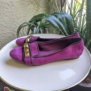 🌼 Tory Burch Purple Suede Flats 8.5 Studded